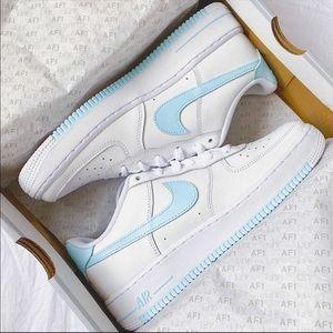⚡️Custom Icy Blue Air Force 1 Shoes⚡️